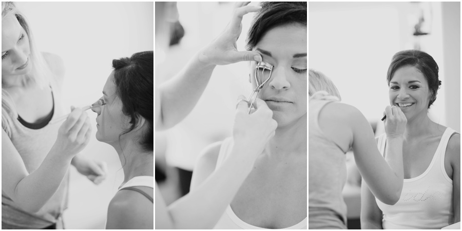 black and white photos, getting ready, bridal makup