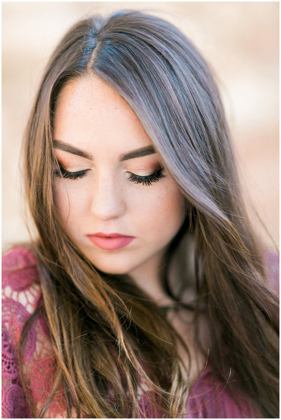 close up of young woman with long lashes