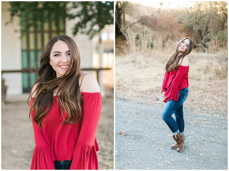 happy smiling girl in a red shirt