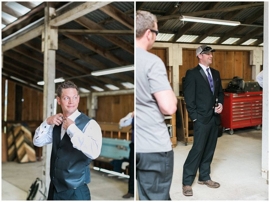 groomsmen hanging out in a barn