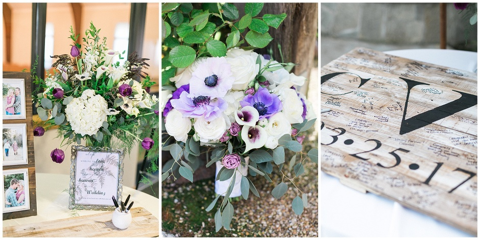 wedding reception details with purple flowers