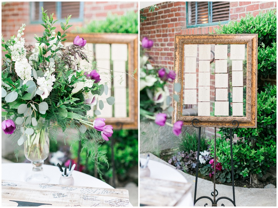 wedding guest place seating chart in a big gold frame