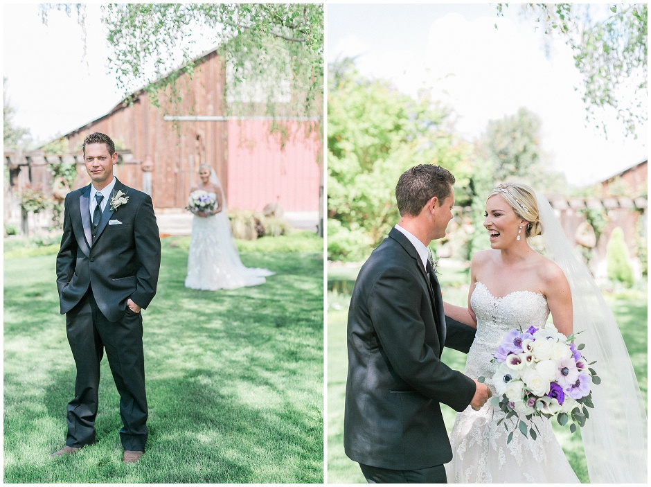 first look in front of a barn