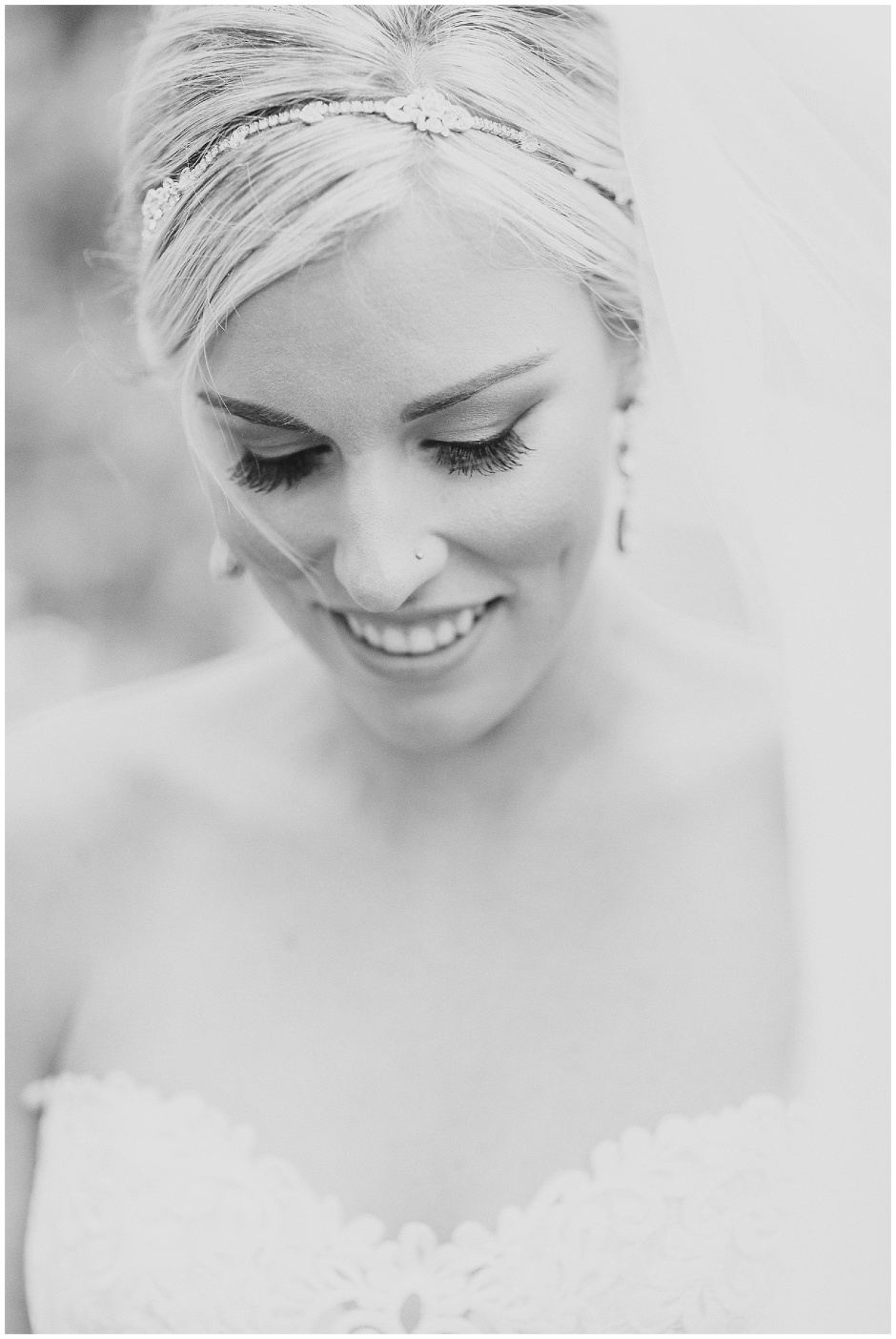 classic black and white portrait of a bride in a veil