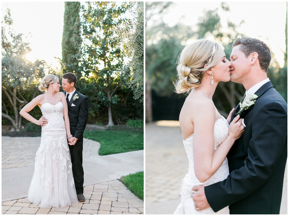bride and groom kissing in sunset light