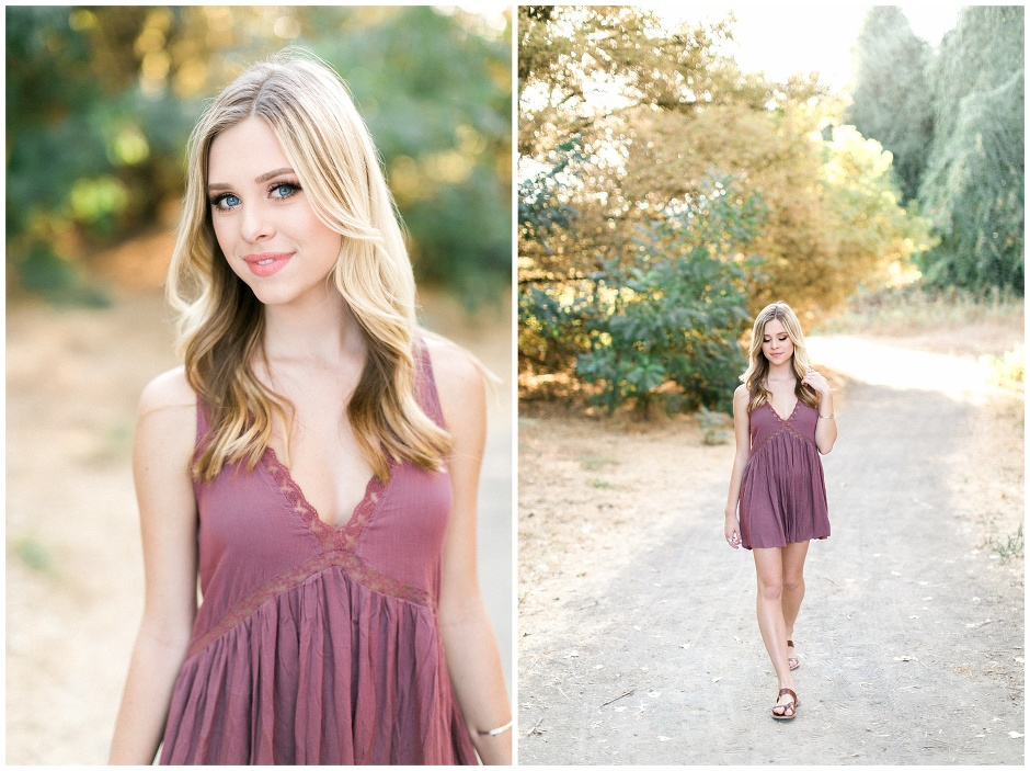 girl in mauve dress walking
