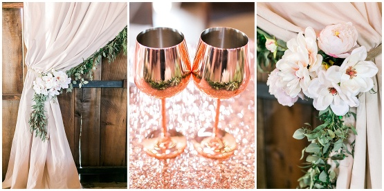 copper wine glasses and wedding details