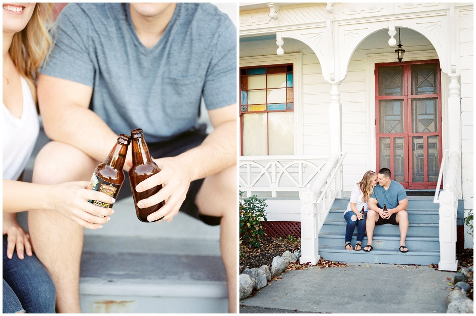 drinking beer on a porch of an old house