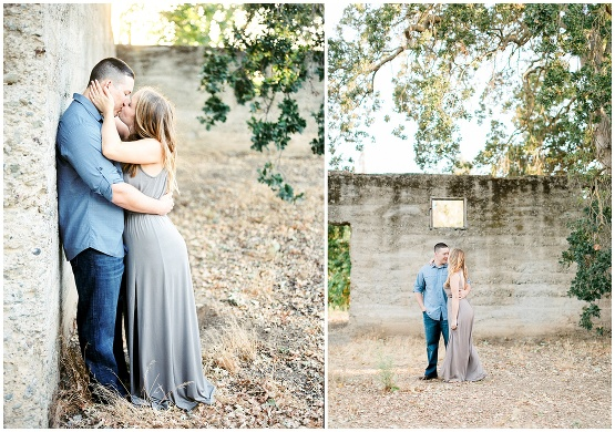 couple kissing in an old stone structure