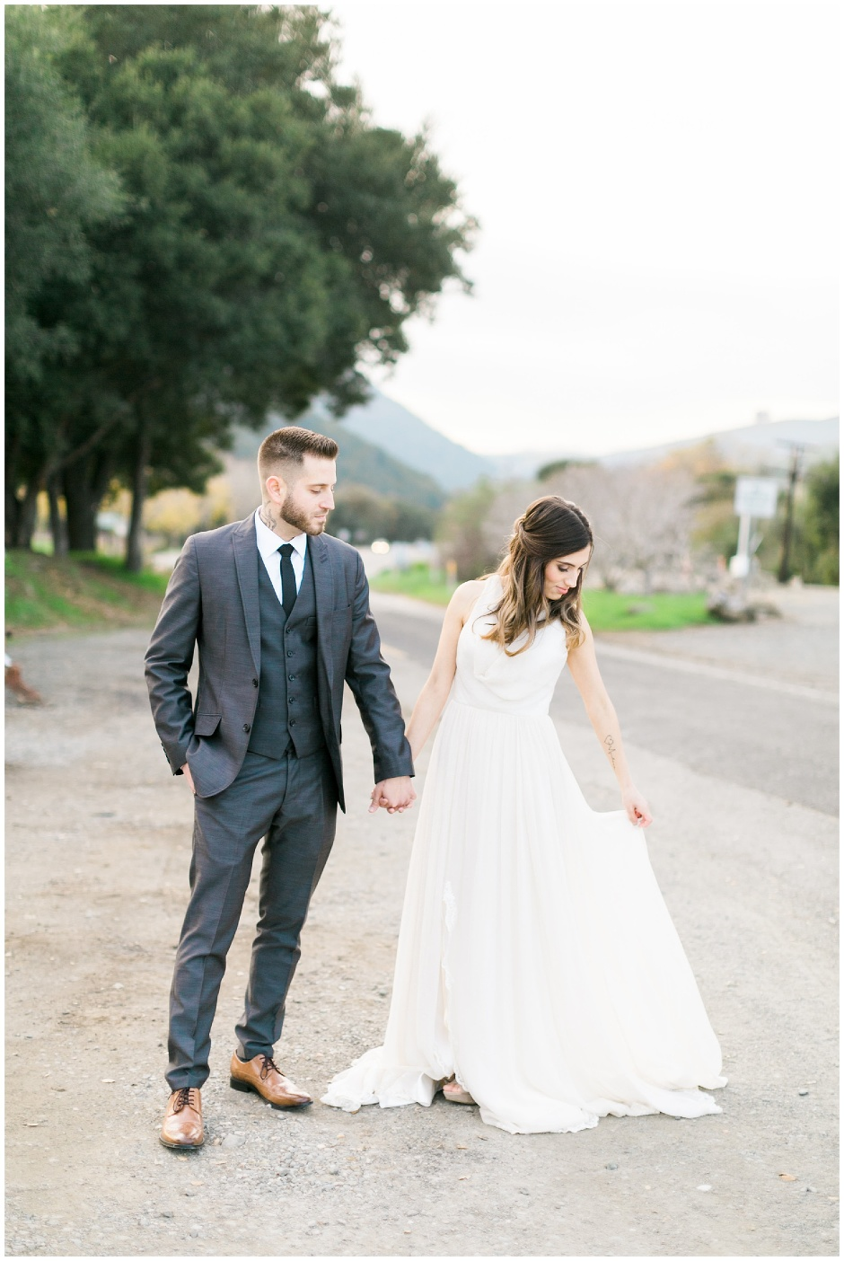 bride and groom, groom in gray tux