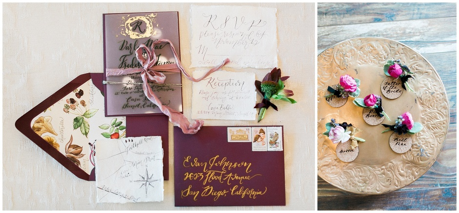 rose and Burgundy invitation suite