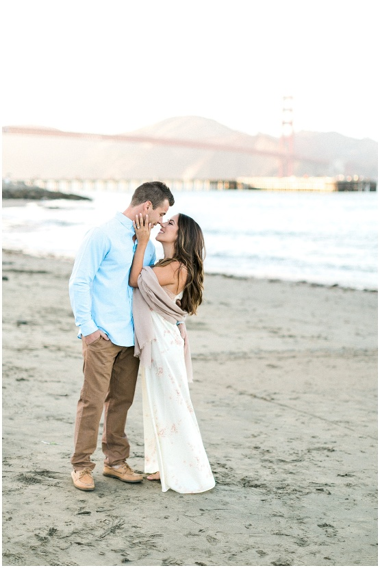 couple in love on the beach in San Francisco