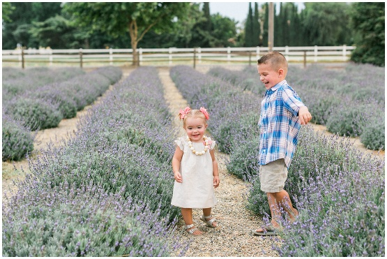 children playing in a lavender field
